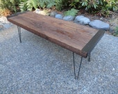 Industrial Bench, Antique Barn wood, Steel hairpin legs, Reclaimed, Rustic, Character.