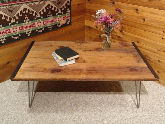 Barnwood coffee table with hairpin legs