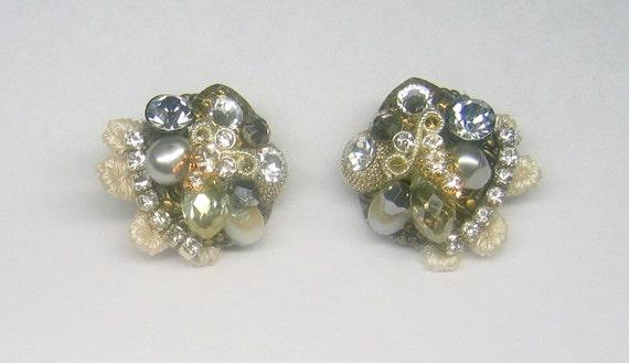 Cluster earrings- Stud earrings- Vintage inspired Antique silver and gold cluster earrings- Rhinestone post earrings