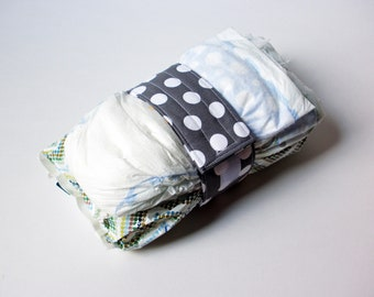 Grey Diaper Strap - Grey with White Polka Dots
