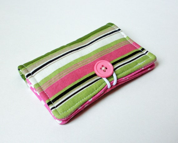 Pink Fabric Business Card Holder, with Pink Polka Dots - Credit Card Holder, Cloth Card Holder