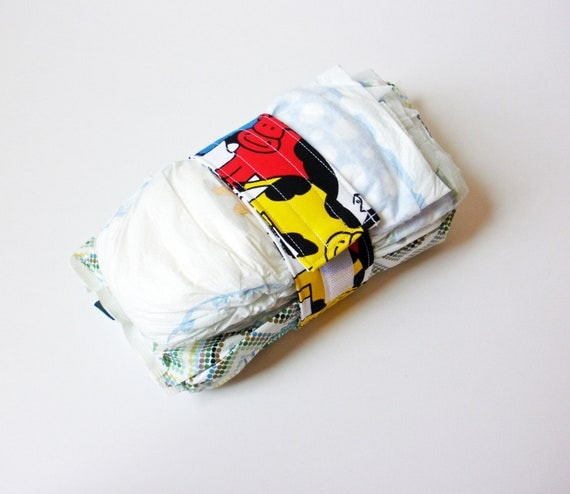 Vintage Cow Print Diaper Strap - Black and White, Red, Blue and Yellow Cows Vintage Fabric