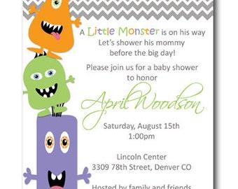 Little Monster Baby Shower or Sprinkle Invitation Card  - Any Color
