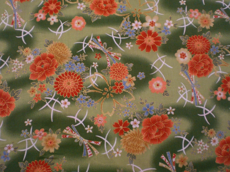 1/2 yard Japanese flower pattern green cotton fabric Kimono
