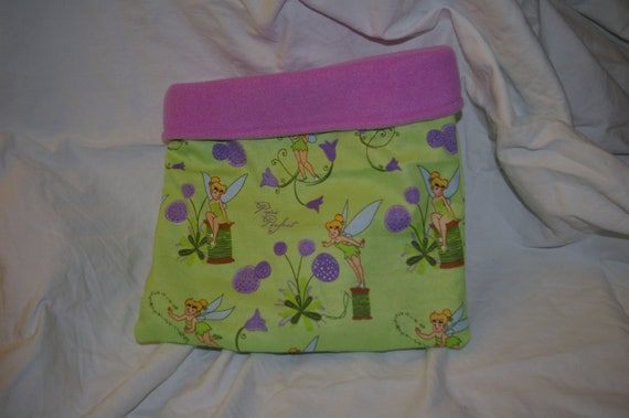 SALE Green Tinkerbell Flannel Snuggle Bag
