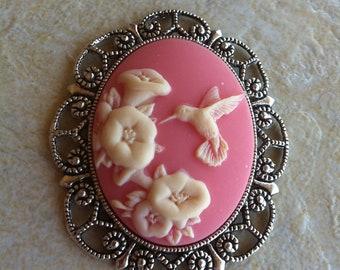 Pink Hummingbird Bird Hair clip Bobby Hair Jewelry Pendant Vintage Victorian Edwardian Cameo