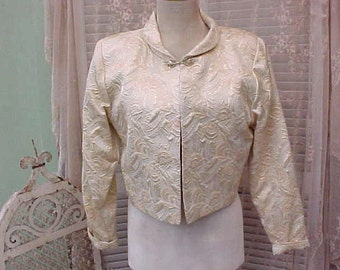 Gorgeous Vintage Brocade Evening Jacket with Decorative Metal Clasp