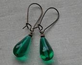 Czech Glass Bead Earrings - Teal Drop
