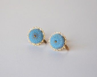 Vintage Powder Blue and Gold Flower Earrings