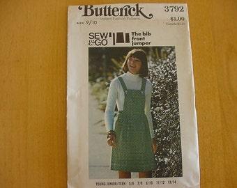 1970s Butterick Pattern 3792 Junior  A Line Jumper, Junior Size 9/10, Bust 30 1/2 UNCUT