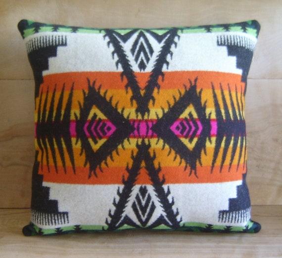 Pendleton Wool Fabric Pillow - Native Geometric Tribal