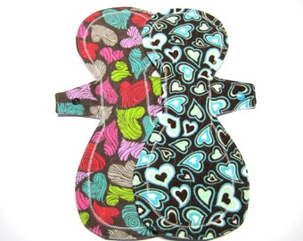 """13"""" Flannel Overnight Menstrual Pads / Post Partum Pads - Set of 2 - Customize Your Set - Choose Your Flow Level and Backing"""