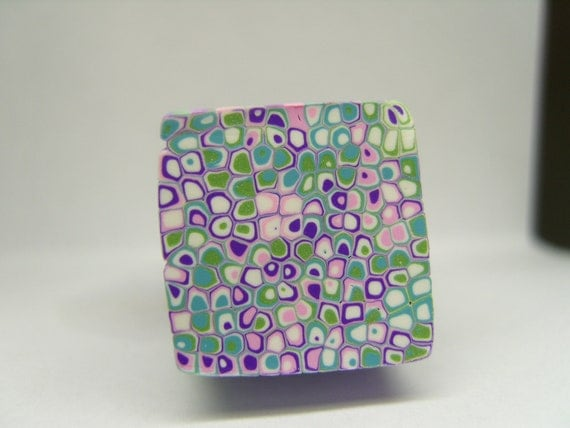 "Raw Kato Premo Polymer Clay Cane Purple Teal Green Pink White ""Monet"" Cane B"