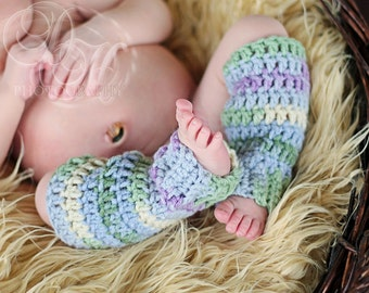 Crocheted Newborn Girls Multi-Coloured Leg Warmers Pair Photo Prop READY TO SHIP