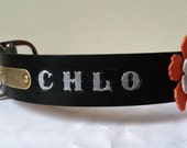 """Harley Collar Large 1 3/4"""" Wide Custom Stamped Handmade Leather Dog Collar Large Leather Flower and Riveted Brass Information Tag"""