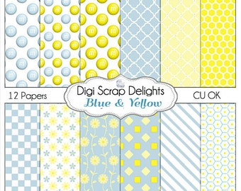 Blue Yellow Dasies, Daisy, M&Ms Digital Papers for Digital Scrapbooking, Card Making, Photographers, Web Design, Crafts, Instant Download