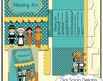 Thanksgiving Printable Gift Bag, Blessing Mix Easy Topper Treat Bag w Pilgrims, Indians in Teal & Yellow Orange