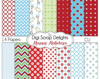 Happy Holidays Christmas Papers , Red, Green, Turquoise Digital Scrapbooking Paper, Chevron, Quatrefoil Instant Download