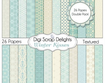 Winter Kiss Digital Scrapbook  Papers in Blue, Instant Download for Winter or Christmas Themes, DOUBLE Pack