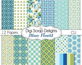 Blue Floral Digital Scrapbook Paper or  Backgrounds, Instand Download