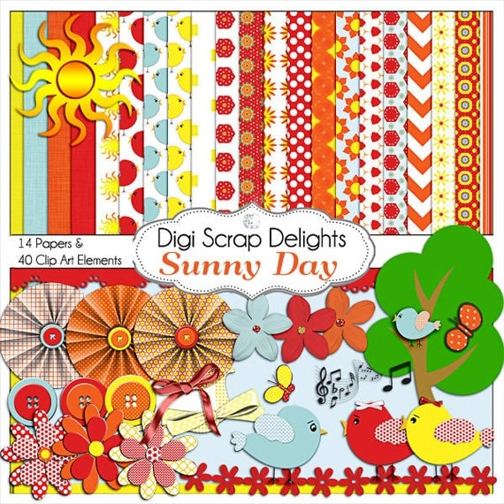 Sunny Day Digital Scrapbook Kit  in Yellow, Red, & Orange w Bird Clip Art for Digital Scrapbooking, Card Making, Backgrounds, Etc.