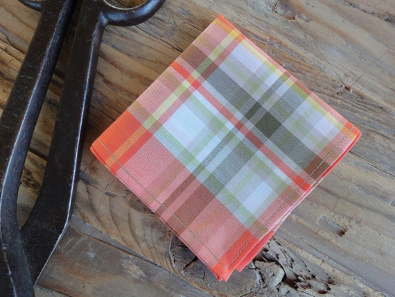 Persimmon Plaid Pima Cotton Handkerchief or Pocket Square