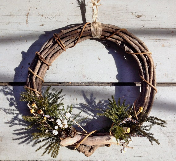 In the Woods Grapevine Wreath - pine, eucalyptus, texas tallow, lavender, driftwood, burlap ribbon. Rustic, spring, natural, organic