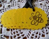 Bumblebee Gift Tags, Yellow Bumble Bee Tags, Goody Bag Tags Baby Shower Party Favor Label - Set of 25