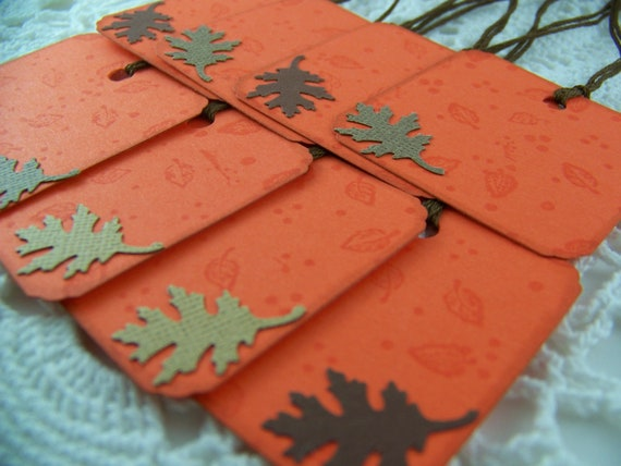 Fall Gift TagsHarvest Thanksgiving Orange Autumn Goody Bag Favor Label Tags - Set of 8