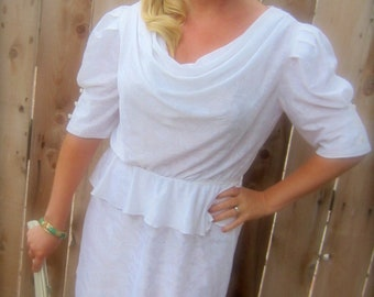 Vintage White Short Party Dress 1980s Alternative Wedding