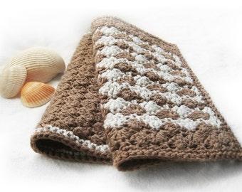 Handmade Crochet Washcloths - Gift Set of 2 - Cotton, Linen - Natural Tan Brown White - Spa Housewarming Bath