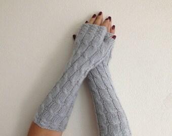 Grey extra Long Fingerless Mittens. Knit Fingerless Mittens. Knit Light Gray Gloves. Knitted Wrist Warmers.