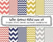chevron digital paper, pink blue yellow gray, digital photography backgrounds zig zag stripe, girls patterns navy blue mustard yellow - 404