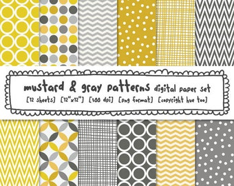 mustard gray digital paper patterns, photography backgrounds, gray yellow dots chevron circles crosshatch, printable instant download - 424