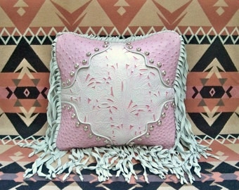 Leather pillow Western style 16 X 16 white pink ostrich rockabilly cowboy luxury SHOWROOM SAMPLE SALE
