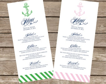 DIY Printable Modern Nautical WEDDING MENU - Lovely Little Party - You Choose Color