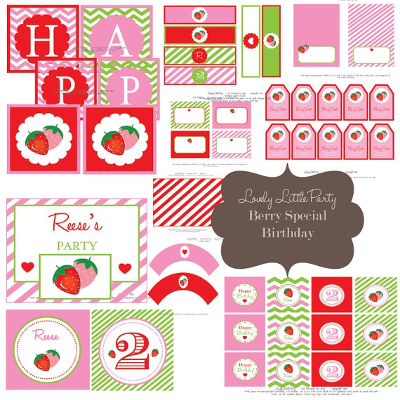 Personalized Printable Berry Special Strawberry Birthday Package - LOVELY LITTLE PARTY
