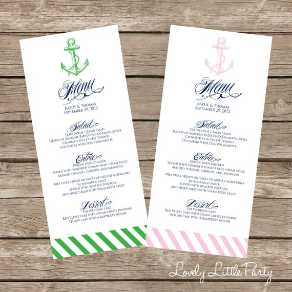 DIY Printable Modern Nautical WEDDING MENU Lovely Little