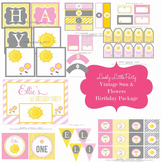 Personalized Printable Vintage Sun & Flowers Birthday Package - LOVELY LITTLE PARTY
