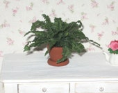 Dollhouse Miniature Potted Boston Fern House Plant Garden Accessories Plants 1/12th Scale