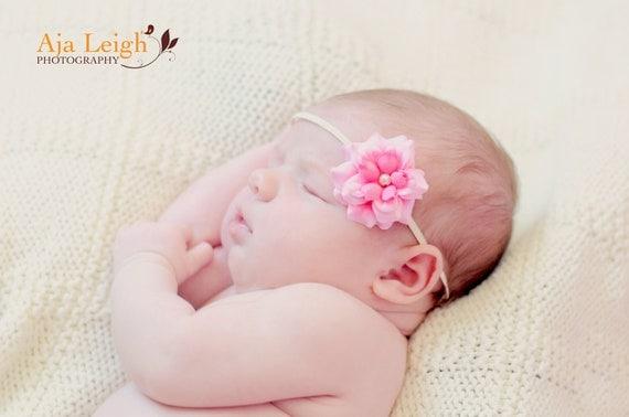Baby Headbands - Baby Girl Headbands - Pink Flower Skinny Headband - Newborn Headband Baby Photography Prop