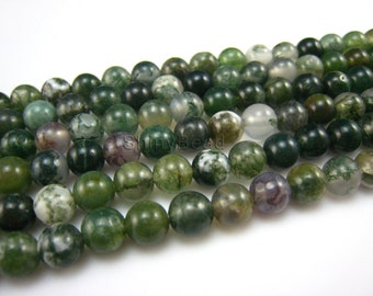 stone bead,moss agate,round 6mm,15 inch
