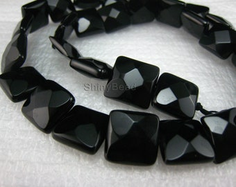 high quality Black Onyx faceted square bead 12x12mm 15 inch strand