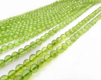 natural peridot smooth round 4mm 15 inch strand