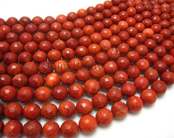 pressed spong coral faceted round 12mm 15.5 inch strand