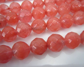 cherry quartz faceted round 8mm 15 inch strand