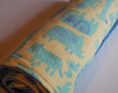CLEARANCE -Large Baby Blanket Tribal Animal Flannel and Blue Bubble Dot Minky