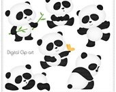 Pandalicious (Cliparts) - Digital Clip Art , Commercial Use Clipart, Scrapbook, Printable - Instant Download