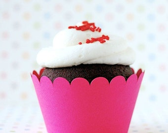 Hot Pink Cupcake Wrappers - set of 12