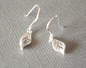 Tiny Leaf Earrings Silver Leaf Earrings Sterling Silver Hooks Everyday Simple Earrings Dainty Petite